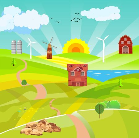 Countryside vector illustration, house on the green hills, village, lake in hills,  outdoor vector