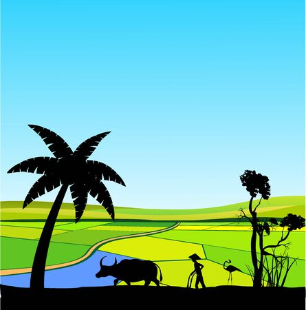 Chinese asian farm silhouette vector landscape, vector countryside asian backgound, peasant plowing the land silhouette, trees silhouette  イラスト・ベクター素材