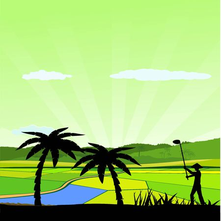 Chinese asian farm silhouette vector landscape, vector countryside asian backgound, peasant plowing the land silhouette, trees silhouette Çizim