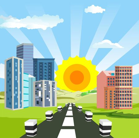 Highway, city buildings along way,roads and clouds in the sky. vector