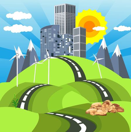 Urban cartoon  landscape, buildings on the hills, and clouds in the sky. vector Иллюстрация