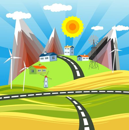 Countryside  landscape, willage houses on the hills, and clouds in the sky. vector  イラスト・ベクター素材