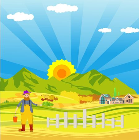 Countryside  landscape, pharmer in the field, and clouds in the sky. vector