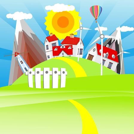 Countryside landscape farm houses with red covers,roads and clouds in the sky. vector
