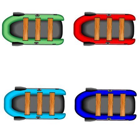 rubber boats set isolated on white vector illustration