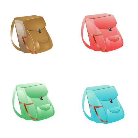 travel backpacks set isolated on white vector illustration