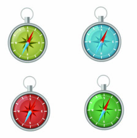 Sport compasses set isolated on white vector illustration Stock Illustratie