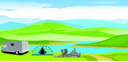 Tourists camp  in river coast  and green fields, blue mountains in horizon Vector illustration of a beautiful  nature scene Ilustracja