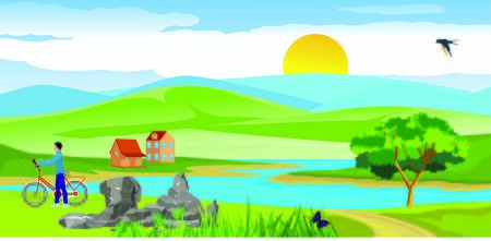 Vector illustration of a beautiful  nature scene in river, little houses valley and green fields, blue mountains in horizon Standard-Bild - 129261985
