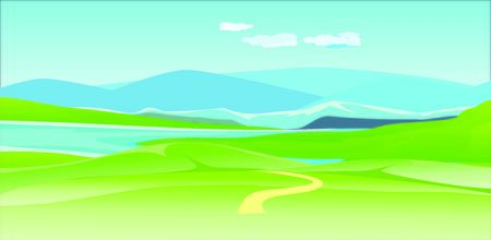 Vector illustration of a beautiful  nature scene in river valley and green fields, blue mountains in horizon