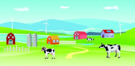 Vector illustration of a beautiful  countryside scene in river valley with farm houses and grazing cow and green fields Çizim