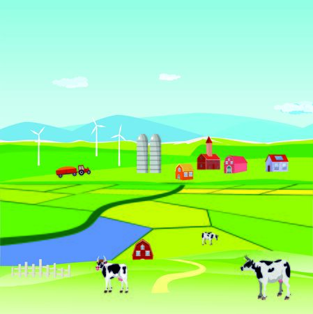 Vector illustration of a beautiful  countryside scene cultivated fields with farm houses and grazing cow and green fields