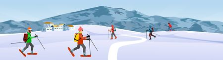 Winter extreme sports and recreation scene, skiers in the mountains, vector