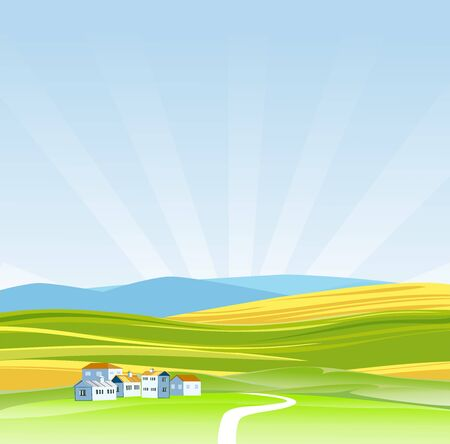 Vector illustration of a beautiful  nature scene, little houses valley and green fields, blue mountains in horizon