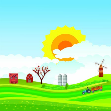 Vector illustration of a beautiful  countryside scene in green valley with farm houses and  green fields