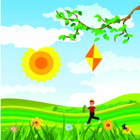Childhood scene, children playing in the green meadow, vector countryside scene