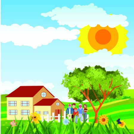 Flat illustration of Countryside view, farm village on hills, family near the home, summer Landscape vector. Çizim