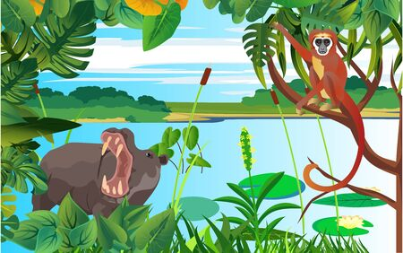 A high quality background of landscape with hippopotamus and monkey, wildlife scene vector