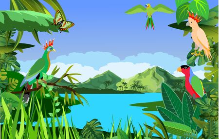A high quality background of landscape with jungle plants and parrots and insects