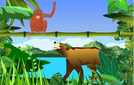 A high quality background of landscape with jungle plants and monkey with bear
