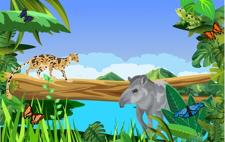 A high quality background of landscape with jungle plants and animals 일러스트