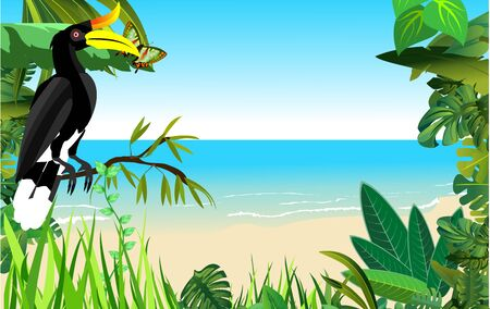 Seaside beach with tropical plants. Jungle animals and birds  floral frame on seaside landscape. Vector . 일러스트