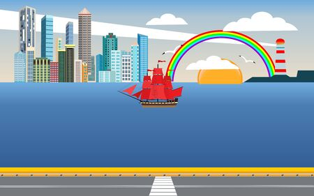 Bridge on the sea, city street, city buildings on the horizon on the ocean coast . Ship with red sails in the harbour and clouds in the sky. Flat, vector Standard-Bild - 129262027