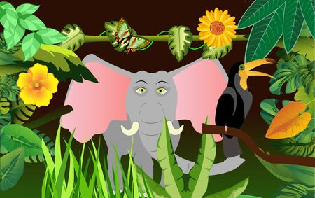 elephant in the jungle  イラスト・ベクター素材