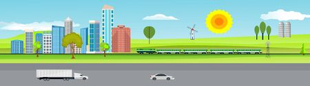 Urban landscape, highway with automobils, city buildings, towers . Family houses in town and clouds in the sky. Horozontal banner, vector