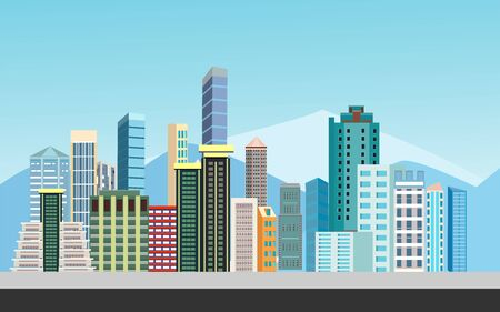 Urban landscape street with city buildings, towers in background . Family houses in town . vector Фото со стока - 129261921