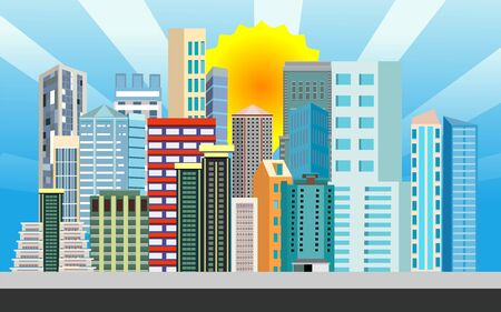 Urban landscape street with city buildings, towers in background . Family houses in town and sunrays and sun in the sky. vector Фото со стока - 129261940