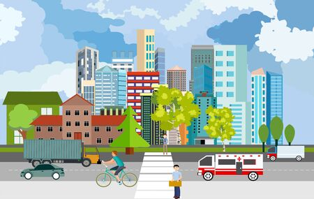 Urban landscape, city street with automobils, city buildings, towers . Buildings in city and clouds in the sky. Flat, vector