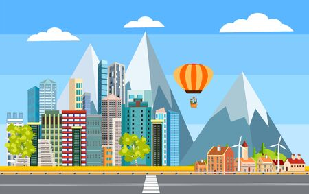 Urban landscape, highway with automobils, city buildings, towers . Family houses in town and clouds in the sky. Flat background, vector