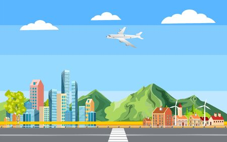 Urban landscape, highway, city buildings, towers . Family houses in town and clouds in the sky. Flat background, vector