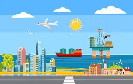Urban landscape, city street , city buildings, towers on the sea coast. Oil platform on the sea surface. Buildings in the city and clouds in the sky. Flat, vector Фото со стока - 129261950