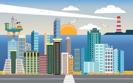 Urban landscape, city street , city buildings, towers on the sea coast. Oil platform on the sea surface. Buildings in the city and clouds in the sky. Flat, vector Иллюстрация