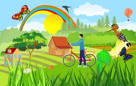 Concept countryside, rural theme vector illustration. Man with bycycle in the village Ilustracja