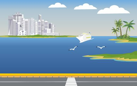 Bridge on the sea, city street, city buildings on the horizon on the ocean coast . Buildings in the city and clouds in the sky. Flat, vector Standard-Bild - 129261958