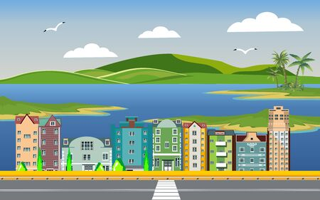 Urban landscape, city street , city buildings, towers on the sea coast. Buildings in the city and clouds in the sky. Flat, vector Иллюстрация