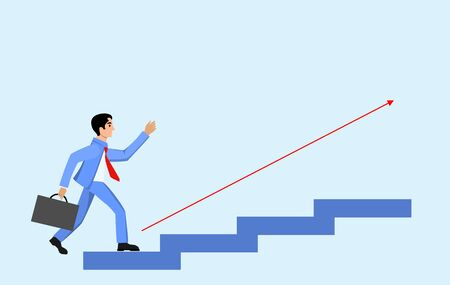 Busines concept illustration, man on career ladder  to demonstrate career corporate success, vector illustration Фото со стока - 129261952