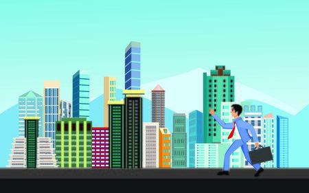 Busines concept illustration, businesman running in the street showing striving for a goal, vector illustration Ilustracja