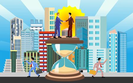 Busines concept illustration, showing consent and negotiation, sandwatch and urban background,vector illustration Ilustracja