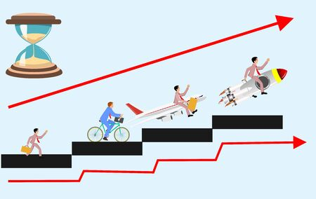 Busines concept illustration, men on career ladder  to demonstrate career corporate success, and competition, vector illustration Stock Illustratie