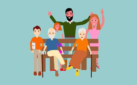 Family sitting on the bench, father mother, grandmother, grandfather, child, doughter, characters vector.