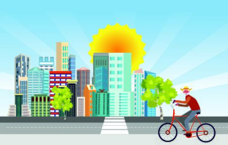 Bycyclist driving on the street, cityscape buildings in background, vector illustration