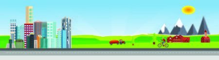 Flat vector illustration of  countryside  landscape urban street with cars, houses , family houses in small town and mountain  in background. Banner horizontal panorama. Иллюстрация