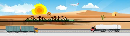 Horizontal web banner and panorama illustration of hot desert with highway across the desrt and trucks  vector