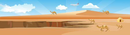 Horizontal web banner and panorama illustration of hot desertr with camels  vector