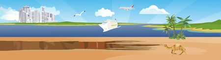 Horizontal web banner and panorama illustration of sea harbour with cruise liner vector Иллюстрация