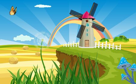 Rural summer landscape with windmill on green hill, Vector illustration. Çizim
